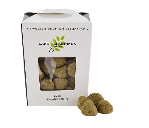 Kartong som innehåller NH4Cl Liquorice Berries från Lakritsfabriken